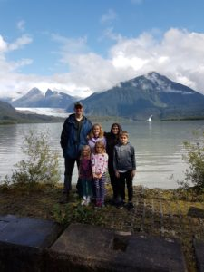 Wall family at Mendenhall Lake, Juneau, Alaska